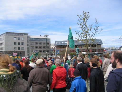 People marching on May first in Reykjavík